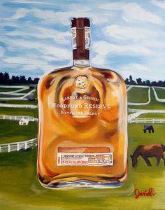 """Kentucky Bourbon Art Print """"Reserved for Winners"""", Kentucky Pop Art Painting, Galerie Jerielle Painting, Original Artwork, Lexington, KY Art"""