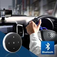 【新商品】車のハンドルに取り付けて手元でiPhoneやスマートフォン、タブレットのメディアプレイヤーを簡単操作できる、Bluetoothマルチメディアステアリングリモコン。音楽配信アプリ対応。両面テープでの設置可能。ストラップ付き。【WEB限定商品】