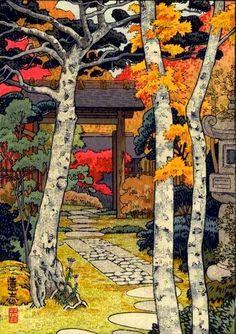 Toshi Yoshida Japanese Woodblock Autumn in Hakone.