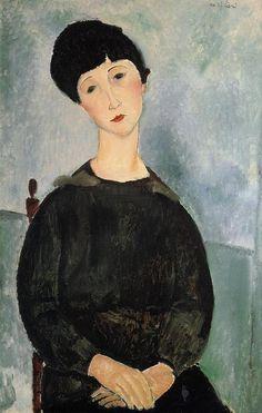 'sitzend junge frau', öl auf leinwand von Amedeo Modigliani (1884-1920, Italy)