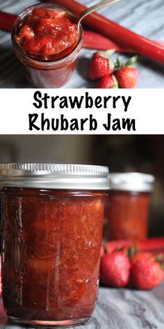 Homemade Strawberry Rhubarb Jam This Easy Strawberry Rhubarb Jam Is Made Without Pectin. This Recipe Can Be Used For Home Canning Or As A Freezer Jam. Guidelines For A Strawberry Rhubarb Jam With Pectin Are Also Provided, As Well As Low Sugar Options. Strawberry Rhubarb Jam, Rhubarb Jelly, Peach Jam Recipe Without Pectin, Strawberry Jelly Recipes, Strawberry Jam Recipe Without Pectin, Rhubarb Butter, Strawberry Freezer Jam, Jam And Jelly, Food And Drink