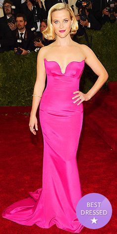 The Best Dressed Stars at the Met Gala | REESE WITHERSPOON | Stella McCartney designed for Cara Delevingne and Kate Bosworth, too, but it's the hot-pink design she made for Reese that really won us over.
