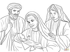 Boaz, Naomi, Ruth and Baby Obed coloring page | Free Printable ...