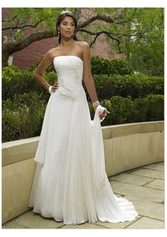 Wedding dress online shop - chiffon strapless empire waistline a line skirt elegant summer wedding gown wm 0012