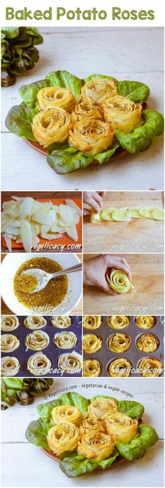 Kartoffel-Rosen Boring baked potatoes can be easily turned into something festive and elegant! Looks impressive, hah? But in fact, everyone can make these flavorful beauties! Gorgeous appetizer to decorate your family dinner! Vegan Blogs, Vegetarian Recipes, Cooking Recipes, Cuisine Diverse, Good Food, Yummy Food, Food Decoration, Potato Dishes, Vegetable Dishes