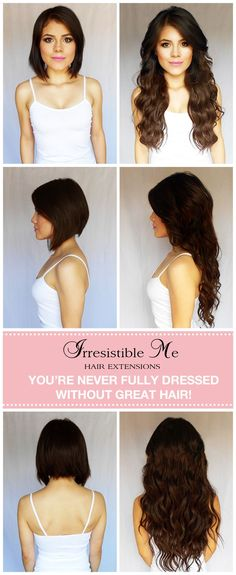 Make a dramatic hairstyle change with Irresistible Me 100% human Remy clip-in hair extensions. You can add length and volume in a matter of minutes. Can be colored, cut and heat styled. Great selection of colors. You can choose the length and weight. Free returns and exchanges, worldwide delivery. They work for really short hair too and properly blended they are undetectable! Fill in our fun quiz to get options tailored for your style.