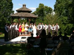 Beautiful rainbow color theme at this outdoor wedding at Unity of Garden Park.