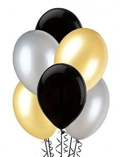 Balloons black, silver and gold (x25) | eBay
