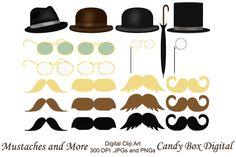 Check out Mustaches and More Men's Clip Art by Candy Box Digital on Creative Market. Mustaches,umbrella, monocle, glasses, sunglasses and hats. So cute!