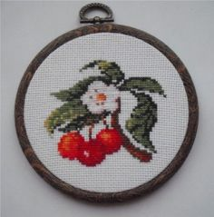 Cross-stitch country picture - cherry