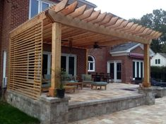Are you looking for a stylish wooden trellis? Or, you'd better install trellis panels and large pots with climbing roses nearby? Then, go explore! Pergola Design Ideas that are quite interesting and suitable for outdoor areas in your home. Diy Pergola, Pergola Canopy, Deck With Pergola, Outdoor Pergola, Wooden Pergola, Backyard Patio, Pergola Ideas, Gazebo, Pergola Lighting