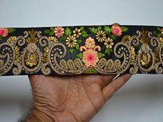 45mm green beige gold bronze metallic embroidered ribbon applique trim Indian