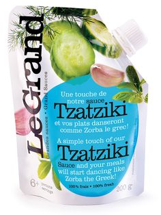 Le Grand Tzatziki flexible #packaging pouches offer high end graphics and #brand differentiation on shelf! #love