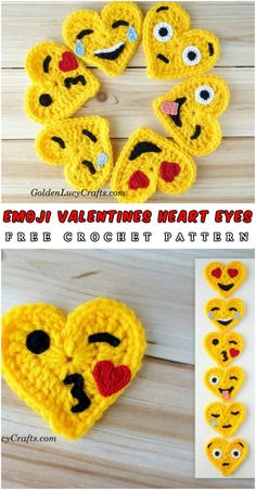 Free Pattern Helo dear crochet lovers. Today I show you an absolutely amazing project made by Golden Lucy – series of six hearts emojis. Enjoy! Full