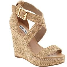 Wish it wasnt quite so high -otherwise love it. Steve Madden 'Haywire' Wedge Sandal available at Ankle Strap Wedges, Wedge Heels, Strap Sandals, Sandals Sale, Women's Sandals, Strappy Heels, High Heels, Cute Shoes, Me Too Shoes