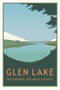 Vintage Style Travel Poster: Glen Lake