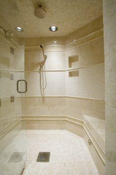 crema marfil shower tile- do a stripe of floor tile to match? Rustic Bathroom Shelves, Rustic Bathroom Designs, Rustic Bathroom Vanities, Bathroom Storage Shelves, Bathroom Photos, Bathroom Layout, Industrial Bathroom, Bathroom Organization, Bathroom Wallpaper