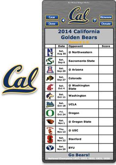 Free 2014 California Golden Bears Football Schedule Widget for Mac OS X - Go Bears! National Champions 1937, 1923, 1922, 1921, 1920 http://riowww.com/teamPages/Cal_Golden_Bears.htm