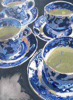 Blue and White Tea Cups by Laura Lacambra Shubert