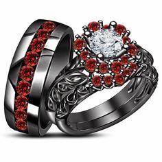His Her Red Garnet Wedding Trio Engagement Bridal Ring Set Black Gold Finish Gothic Wedding Rings, Ruby Wedding Rings, Skull Wedding Ring, Wedding Rings For Women, Bridal Rings, Wedding Ring Bands, Black Gold Jewelry, Black Rings, Engagement Wedding Ring Sets