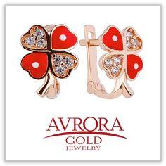 Золотые детские сережки в виде четырехлистного клевера для ваших ангелочков на удачу!   #AvroraGold #Jewelry #fashion #butterfly #girls #style #kids