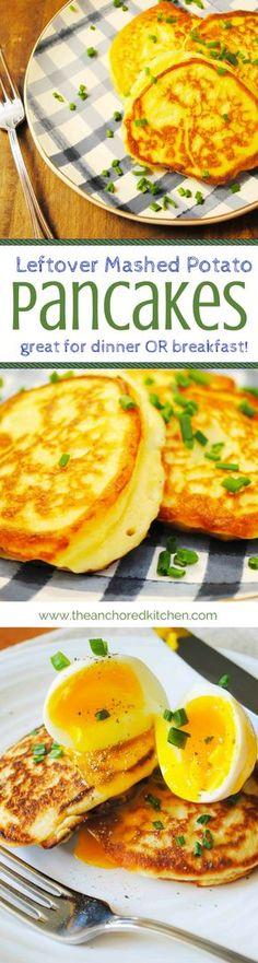 Leftover Mashed Potato Pancakes - The Anchored Kitchen #leftovers #mashedpotatoes #potatopancakes #potato #sidedish #breakfast
