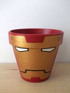 Items similar to Iron Man Avengers Marvel Superhero Painted Flower Pot on Etsy Iron Man Avengers, Painted Clay Pots, Painted Flower Pots, Flower Pot Crafts, Clay Pot Crafts, Iron Man Party, Iron Man Birthday, 4th Birthday, Superhero Gifts
