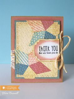 handmade card ... aged look with muted colors ... quilted stars ... embedded embossing ... Thank-you on a tag ... sweet!!