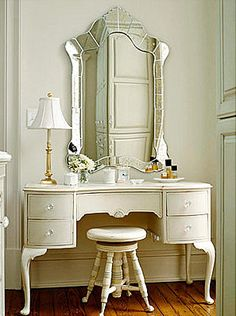 Vanity Dressing Makeup Table Love the Piano Chair as a seat! Master Bath Master Closet