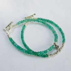 Double Beaded and Charm Bracelet Set - Green Onyx