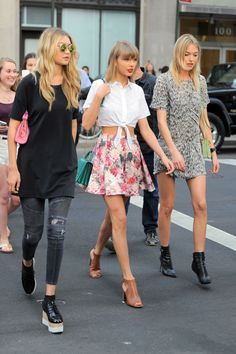 Gigi Hadid, Taylor Swift, and Martha Hunt in New York City on May 29, 2015.