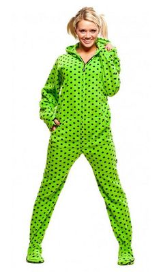 Womens Jumpin Jammerz Green #Diva Dots Hoodie Footed #Onesie - Shop the Collection http://www.australiaqld.com/adult-onesies/