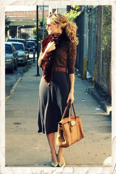 Would love to pull off this outfit and hair...substituting the fur for a trendy scarf though. :)