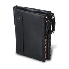 8eac43224e Crazy Horse Genuine Leather Men Wallets Credit Business Card Holders Double  Zipper Cowhide Leather Wallet Purse Carteira