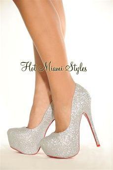Silver High Shine Shimmer High Heel Red Bottom Pumps