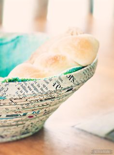 Recycled newspaper bread bowl - love it!