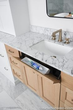 Master Bathroom Reveal | Start at Home Decor | Bathroom Organization Freestanding Tub Filler, Quarter Sawn White Oak, Floating Vanity, Hanging Light Fixtures, Funky Junk, Bathroom Organization, Bathroom Stuff, Bathroom Ideas