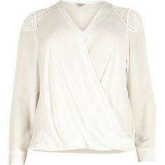 Plus white lace shoulder wrap blouse $30.00