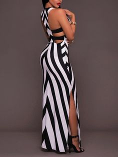 Black-White Striped Cut Out Draped Side Slit Floor Length Bohemian Maxi Dress Classy Dress, Classy Outfits, Chic Outfits, Dress Outfits, Fashion Outfits, Sexy Dresses, Beautiful Dresses, Casual Dresses, Cheap Dresses