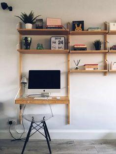 Home Office Space, Home Office Design, Home Office Decor, House Design, Small Office, Office Ideas, Wall Mounted Desk Ikea, Svalnäs Ikea, Ikea Workspace