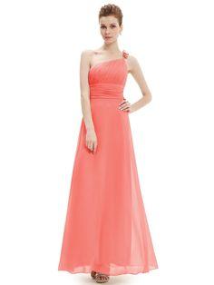 One Shoulder Watermelon Flower Ruffles Chiffon NWT Evening Dress