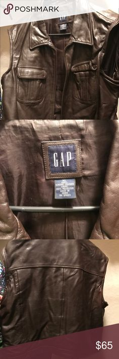 Gap Leather Vest Chocolate Brown denim style lamb skin  leather vest by Gap. GAP Jackets & Coats Vests