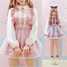 Aliexpress.com : Buy Plaid Lolita kawaii clothing Dress Lace Mesh Long Sleeve…