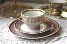 Vintage GDR / DDR German Pink & Gold Tea Cup. €20,00, via Etsy.