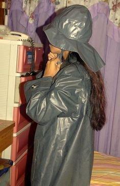 Rain Bonnet, Rain Hat, Rubber Raincoats, Pvc Raincoat, Lady, Rain Jacket, Windbreaker, Women Wear, How To Wear