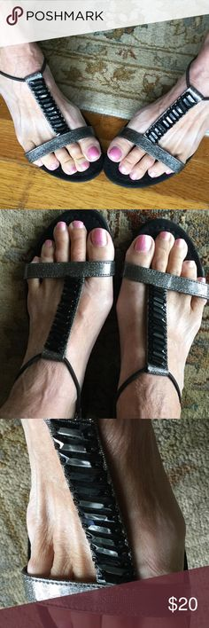 Anne Klein Sport Sandals, Black Metallic Dressy I have feet problems and can no longer wear my flat sandals....more to come...😢😥  I wore twice💖 Anne Klein Sport Shoes Sandals