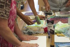 More Printing. his class was called Gelli Bound and my students learned new ways to create Gelli Plate monoprints, which we then used to make three little journals and a box to hold them in
