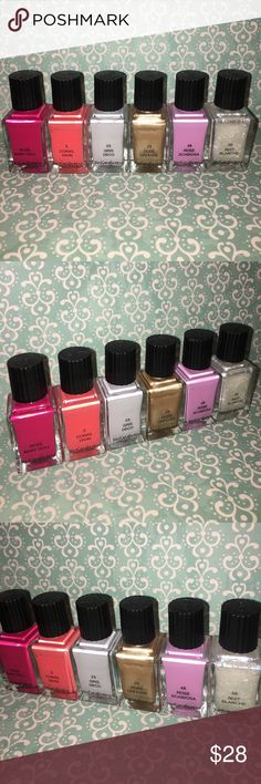 YSL Nail Polish Set of 6 Colors set of 6 (six) gently used YSL nail polish colors. come from a smoke free, pet free home. these were used/tested by myself and no one else. some were tested once for color and others maybe have 5% gone (if that) from being used a few times. colors vary -- see pics! $28 value each ($168 total). perfect condition -- all the bottles open just fine, no damage. Yves Saint Laurent Makeup Brushes & Tools