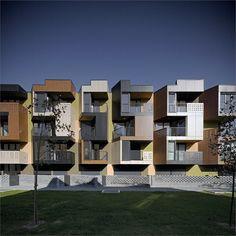 Ofis Arhitekti on Modular Modernism, Alpine Architecture and Tetris - Architizer Building Facade, Building Exterior, Facade Architecture, Beautiful Architecture, Landscape Architecture, Social Housing, Affordable Housing, Facade Design, Modern Buildings
