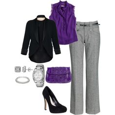 Purple love. Great work outfit.